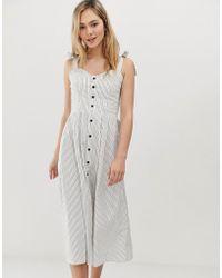 Angeleye Striped Button Front Midi Dress - Multicolour
