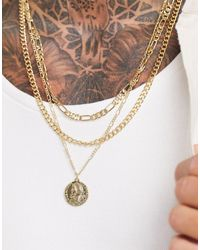 ASOS Layered Slim Neckchain Pack With Coin Pendant - Metallic