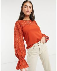 River Island Lace Sleeved Blouse - Brown