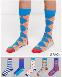Happy Socks Hs Van 5 Pak Sokken - Blauw