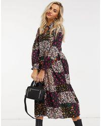 New Look Robe mi-longue à volants nouée au cou à imprimé patchwork floral - Noir