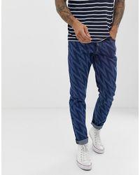 ASOS Smalle Jeans Met Zigzag-print - Blauw