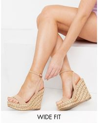 ASOS Wide Fit Tula Espadrille Wedges - Natural