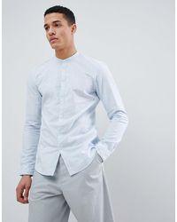 Tom Tailor – Langärmliges Grandad-Hemd aus 100% Baumwolle - Blau