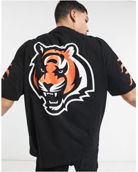 ASOS Nfl Cincinnati Bengals Oversized V Neck T-shirt With Sleeve Print - Black