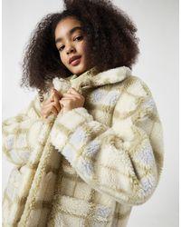 Pull&Bear Светло-бежевая Клетчатая Куртка В Стиле Oversized Из Искусственного Меха -многоцветный