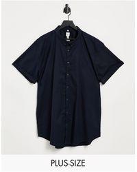 River Island Big & Tall Short Sleeve Shirt - Blue