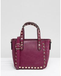 Yoki Fashion - Small Tote Bag In Wine With Studs - Lyst