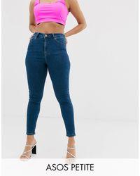 ASOS ASOS DESIGN Petite - Ridley - Jean skinny taille haute - délavé - Bleu