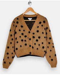 TOPSHOP Polka-dot Print Cropped Woven Cardigan - Multicolor