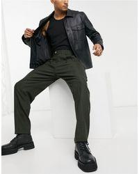 ASOS Pantalon habillé ajusté à taille haute en laine mélangée avec carreaux ton sur ton - Vert