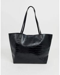 ASOS Shopper effetto coccodrillo con tessuto accoppiato - Nero