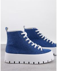 ASOS Detra Chunky High Top Trainers - Blue