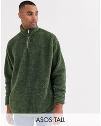ASOS Tall - Sweat-shirt oversize duveteux imitation peau - Vert