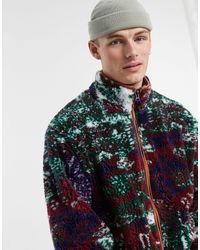 Jaded London Patchwork Borg Jacket - Multicolour