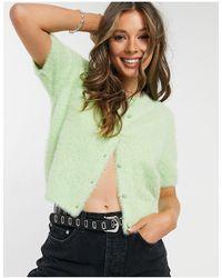 Pimkie Fluffy Knit Short Sleeve Co-ord Cardigan - Green