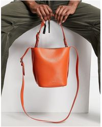 Reiss Hudson Mini Textured Leather Bucket Bag - Orange