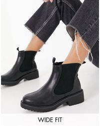 London Rebel Wide Fit Chelsea Ankle Boots - Black