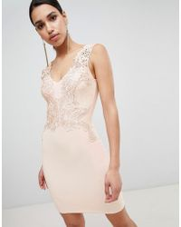 Lipsy Plunge Neck Lace Applique Bodycon Dress - Pink