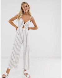 Bershka Ring Front Jumpsuit - White