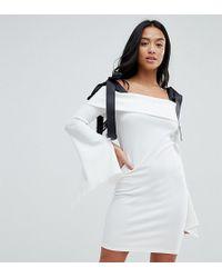 John Zack - Bardot Mini Dress With Tie Shoulder Detail - Lyst