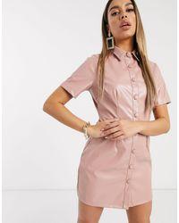 Boohoo Mini-jurk Met Knoopsluiting En Leerlook - Roze