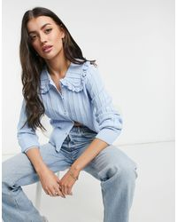 Y.A.S Ribbed Cardigan With Frilly Prairie Collar - Blue