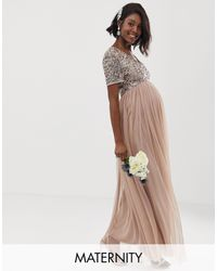 Maya Maternity Bridesmaid V Neck Maxi Tulle Dress With Tonal Delicate Sequins - Brown