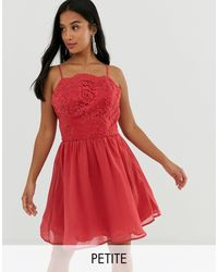Chi Chi London Lace Mini Skater Dress - Red