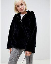 Glamorous Half Zip Hooded Jacket In Faux Fur - Black