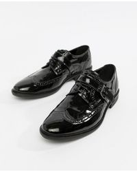 ASOS - Brogue Shoes In Black Patent With Strap Detail - Lyst