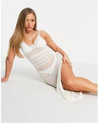 South Beach Белое Вязаное Пляжное Платье-комбинация Макси С Разрезом Сбоку -белый