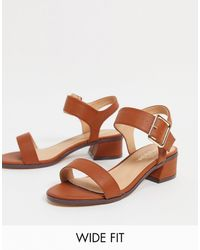 Simply Be Extra Wide Fit Heeled Sandal With Buckle Detail - Brown