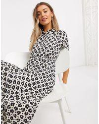FABIENNE CHAPOT Brizo Leopard Print Midi Shirt Dress - Black