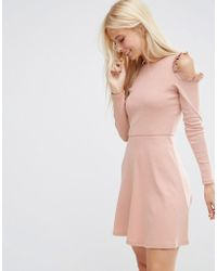 ASOS - Skater Dress With Frill Detail And Cut Out Shoulder - Lyst