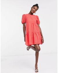 Glamorous Свободное Ярусное Платье В Клетку -красный