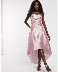 Chi Chi London Satin Midi Dress With Extreme High Low - Pink