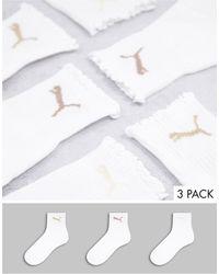 PUMA Набор Из 3 Пар Белых Носков С Оборками И Принтом Нейтральных Оттенков -белый