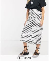 Reclaimed (vintage) - Inspired Midi Satin Skirt With Step Hem - Lyst