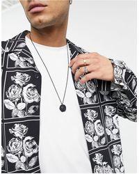ASOS Collier chaîne fin avec pendentif boussolle - mat - Noir