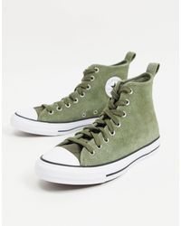 Converse Замшевые Кроссовки Цвета Хаки Chuck Taylor All Star Hi Mountain Club-зеленый Цвет