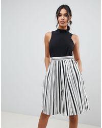 Closet 2 In 1 Prom Skater Dress In Stripe - Multicolor