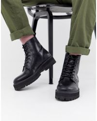 ASOS Black Lace Up Boots In Faux Leather With Raised Chunky Sole