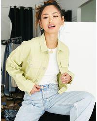 WÅVEN – Nina – Oversize-Jeansjacke mit kurzem Schnitt - Grün
