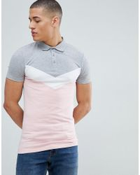 ASOS - Muscle Fit Polo Shirt With Chevron Cut And Sew Panel In Grey - Lyst