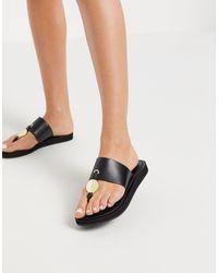 ALDO Yilania - Sandales plates en cuir - Noir
