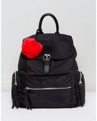 Pull&Bear Nylon Pocket Detail Back Pack - Black