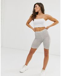 ASOS – Legging-Shorts mit Glitzerdesign - Weiß