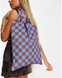 ASOS Katoenen Shopper Met Blokjesprint - Blauw