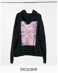Collusion Oversized Hoodie With Print - Black